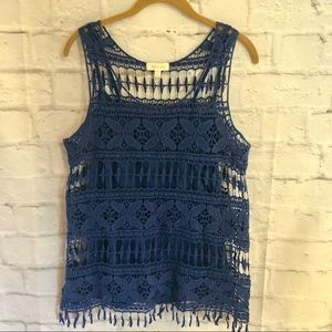 Adiva Royal Blue 2-Piece Crochet Tassel Tank